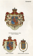 DENMARK FLAGS. Arms. King's, Queen's & Crown Prince's StandardS 1958 old print
